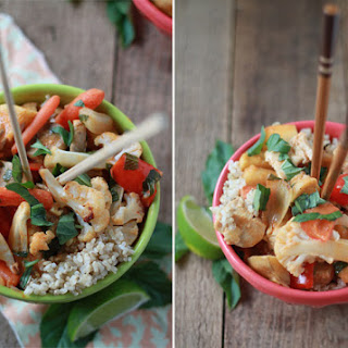 Roasted Winter Vegetables in Thai Red Curry with Optional Chicken.