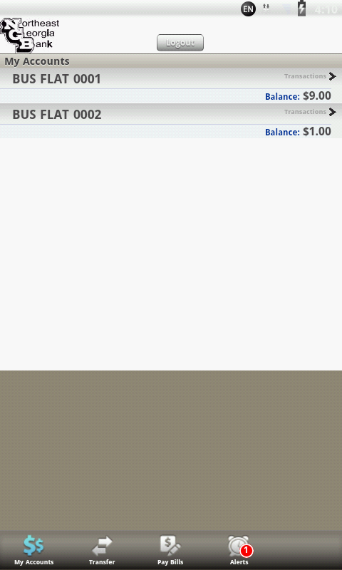 Northeast Georgia Bank Mobile - screenshot