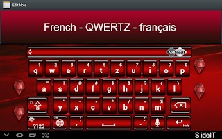Screenshot of SlideIT French QWERTZ Pack