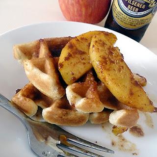 Beer Waffles with Cinnamon-Caramel Apples