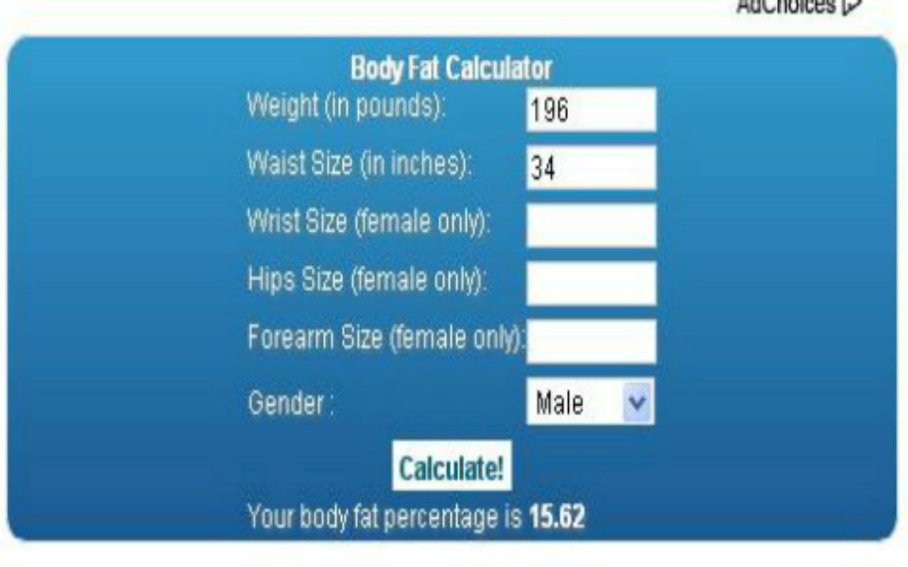 Body Fat Calculator Wrist