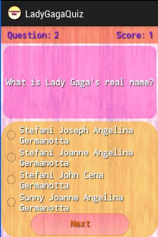 LadyGagaQuiz - screenshot