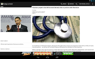 Screenshot of Drudge Report on Droid