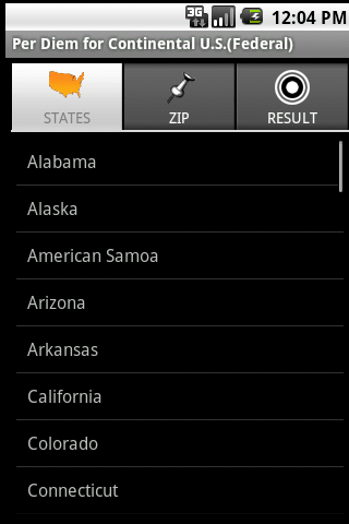 Per Diem for U.S. (Federal)- screenshot