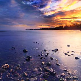 Burning Desires by Kadek Jaya - Landscapes Sunsets & Sunrises ( sky, beach, sunrise, stones, burning )