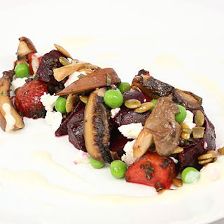 Wild Mushroom, Roasted Beet, and Goat Cheese Salad with Onion Purée