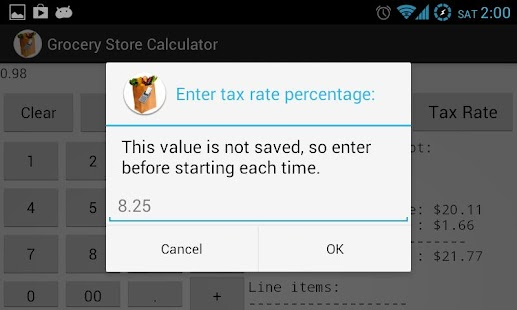 Grocery Store Calculator - screenshot thumbnail