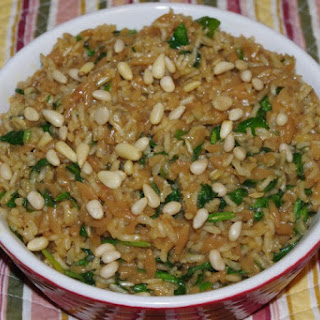 Tropical Orzo, Rice And Spinach.