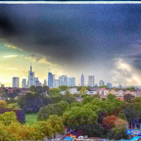Frankfurt skyline from on top of the Dippemesse  Ferris Wheel by Joe Harris - Landscapes Weather