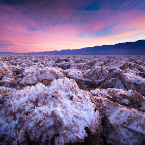 Salty Snow by Adam Collins - Landscapes Deserts ( death valley, sunset, salt formations, devil's golf course, salt flats )