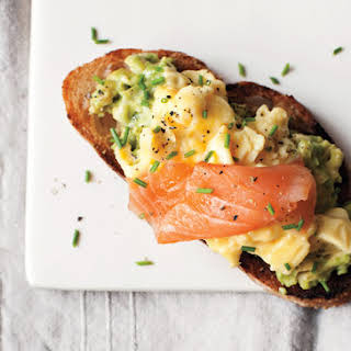 Scrambled Eggs, Avocado, and Smoked Salmon on Toast.