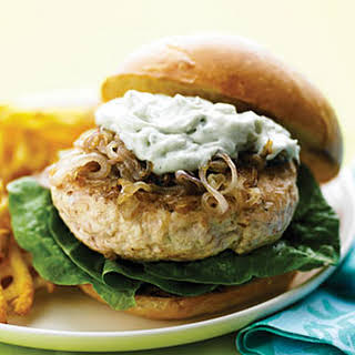 Chicken Burgers with Caramelized Shallots and Blue Cheese.