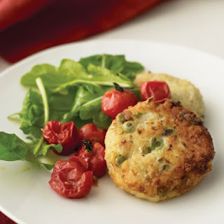 Risotto Cakes with Roasted Tomatoes and Arugula