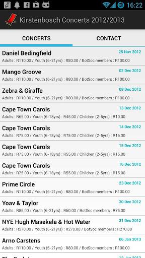 Kirstenbosch Concerts 2012 13