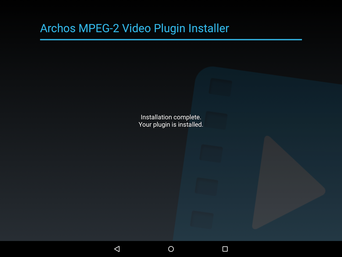 Archos MPEG-2 Video Plugin - screenshot