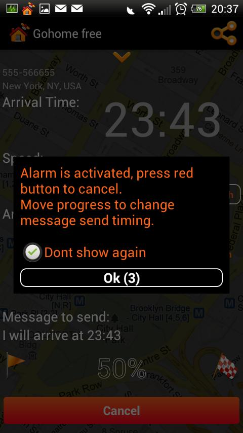 Gohome Arrival time sms - free- screenshot