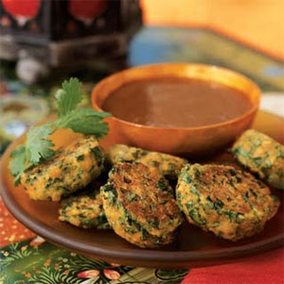 Lentil and Spinach Puffs with Plum-Date Dip.