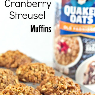Bakery Style Rolled Oats Cranberry Streusel Muffins