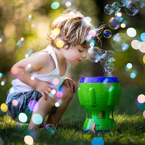 Amazing Bubbles by Mike DeMicco - Babies & Children Children Candids ( playing, child, bubble, kids playing in summer, bubbles, fun, handsome, boy )