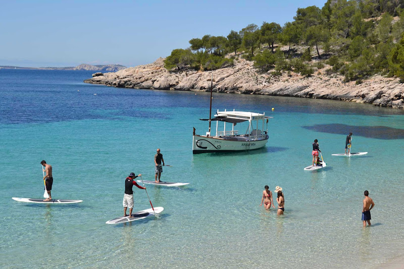 Cala Gració at Sant Antonio Abad in Ibiza off the southern coast of Spain. The beaches there have a pure scenic beauty and are at the hub of many local activities, such as boating, fishing and swimmin
