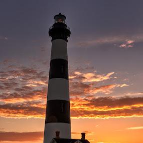 by Walter Farnham - Buildings & Architecture Public & Historical ( orange, bodie island, color, lighthouse, sunrise,  )
