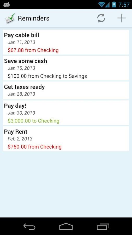 ClearCheckbook MoneyManagement- screenshot