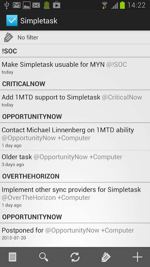 Simpletask- screenshot