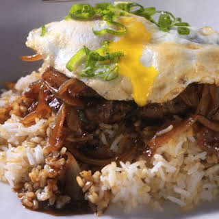 Caramelized Onion And Beef Loco Moco.