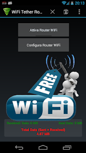 WiFi Tether Router Screenshot