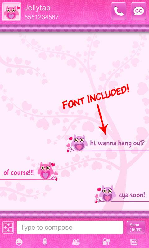 Cute Love Owls Theme Go SMS (Android) reviews at Android Quality Index