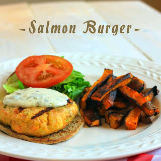 Salmon Burgers with Caper Mayo.