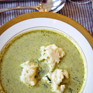 Creamy Watercress Soup with Lemon-Goat Cheese Dumplings.