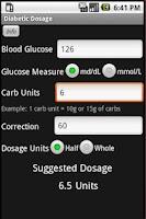 Screenshot of Diabetic Dosage Calculator