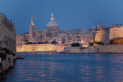 Malta harbor at twilight.