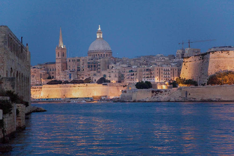Malta harbor at twilight.