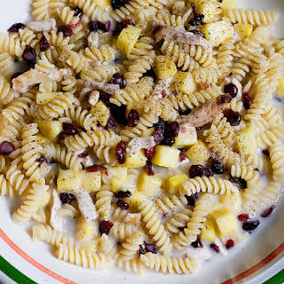 Coconut Fusilli with Pineapple, Cranberries and Shredded Chicken.