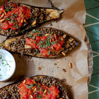 Stuffed Eggplant with Lentils and Millet.