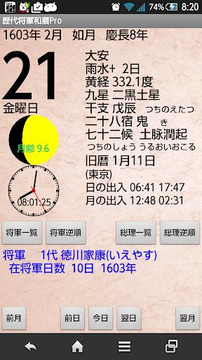歴代徳川将軍和暦