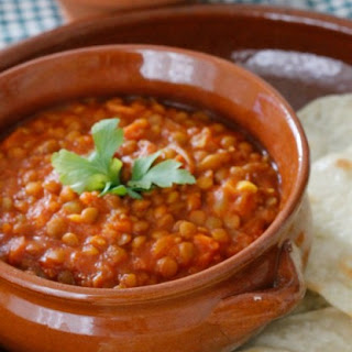 Curried Lentils with Homemade Roti