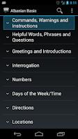 Screenshot of Albanian Basic Phrases