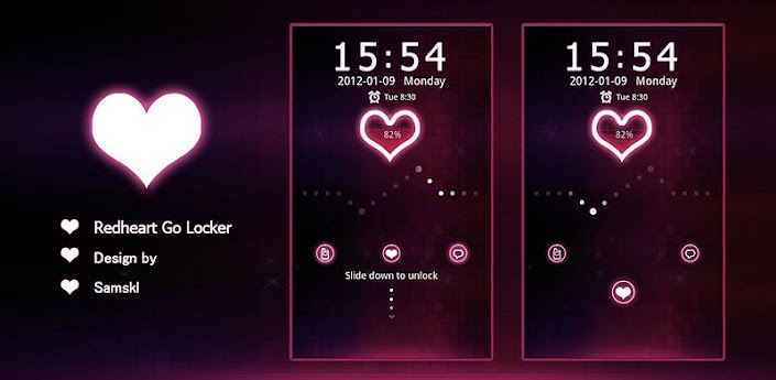 Red heart Theme GO Locker v1.00