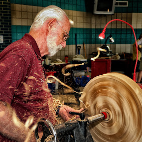 Woodworker Turning a Platter by Alan Roseman - People Professional People ( hand made., turner, old school, craftsman, woodwork, woodworker, crafts, turning,  )