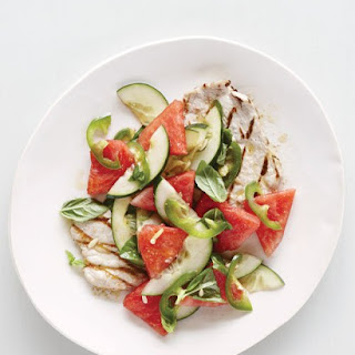 Grilled Pork Cutlets with Watermelon-Cucumber Salad.