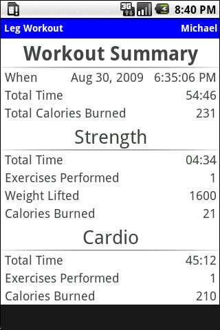 Workout Journal - screenshot
