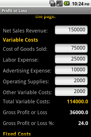 Profit or Loss - screenshot