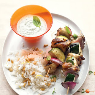 Grilled Greek Chicken Kebabs with Mint-Feta Sauce.