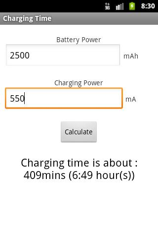 Charging Time - screenshot