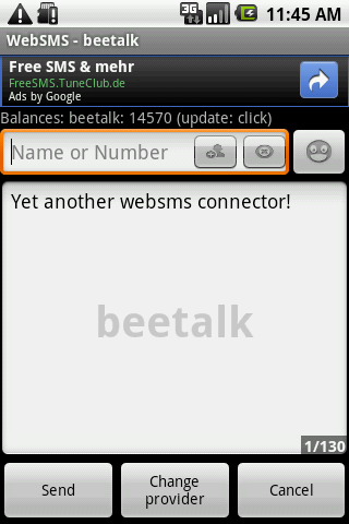 WebSMS: Beetalk Connector - screenshot