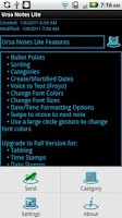 Screenshot of Ursa Notes Lite