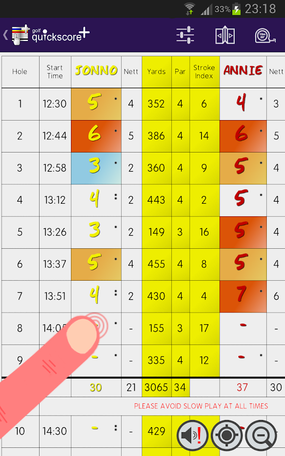 Golf Quickscore+ - screenshot